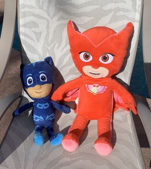 2 like new large PJ Masks stuffed animals for Sale in Davie, FL