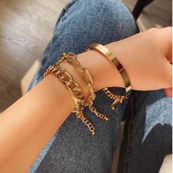 Punk Style 3pcs/Set Curb Cuban Multilayer Link chain bracelet, Gold Color for Sale in Los Angeles,  CA
