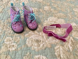 "American Girl Doll ""Fun Floral Boots"" and Matching Headband for Sale in Denver, NC"