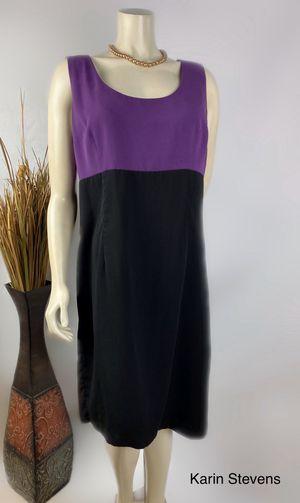 KARIN STEVENS PURPLE BLACK SLEEVELESS MIDI DRESS SIZE 16 for Sale in Riverside, CA