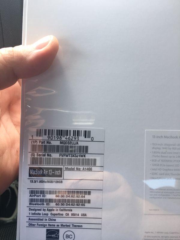 MacBook Air model num A1466