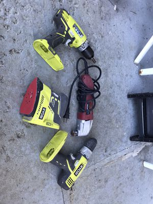 2 ryobi drills and sander with Chicago electric multi tool. for Sale in Columbia, PA