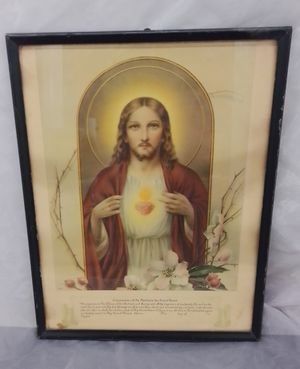 Jesus sacred heart print 1939 for Sale in St. Louis, MO
