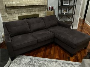 Cindy Crawford Sectional/Couch Slate/Gray Suede for Sale in Houston, TX