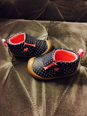 Carter's Navy Blue & Pink Polka Dot Velcro Shoes Size T2 for Sale in San Diego, CA