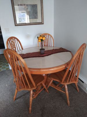Oak dining room table with four chairs in good condition asking $130 or Best. Offer for Sale in Edgewood, WA