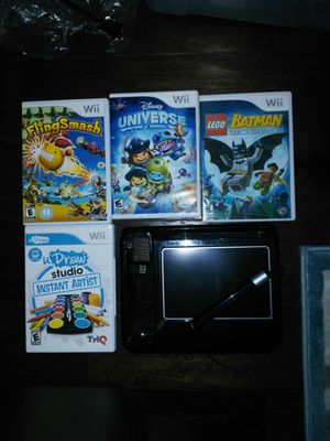 4 Wii games combo pack with drawing pad Lego Batman Disney universe u draw studio fling smash Nintendo Wii for Sale in Apex, NC