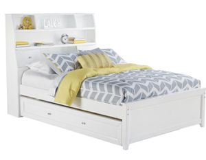 Ivy League White 4 Pc FULL Size Bookcase Bed W/Trundle + Twin Trundle Mattress for Sale in Land O Lakes, FL