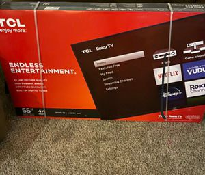 Roku tv ....Tcl 55 inch 4k ultra smart led tv .... new in box and sealed for Sale in Plano, TX