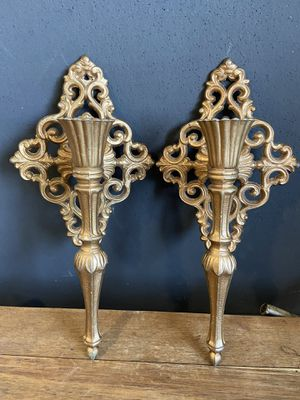 Vintage Cast Medal Wall Mount French Style Gold Candle Holders for Sale in Cashmere, WA