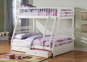 Twin/Full Bunk Bed AND Drawers - 37040 - White YD X for Sale in Pomona, CA