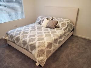 White Leather Queen Bed Frame with Mattress!!Brand New Free Delivery for Sale in Chicago, IL
