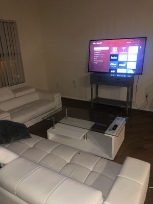 Sofa love, seat, glass coffee table , nightstand, hall table, two TVs bundle for Sale in Los Angeles, CA