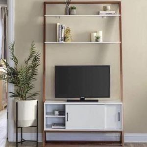 """NEW 42"""" Unique Modern Wood Ladder Shelf TV Stand Media Console w/ Storage Cabinet & Shelves - 40"""" TV for Sale in Clifton, VA"""