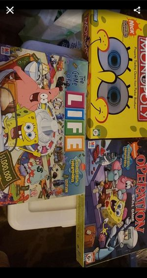 Operation/life/monopoly spongebob edition for Sale in Federal Way, WA