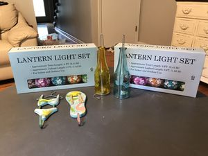 Tropical outdoor patio decor. String lights candle holders for Sale in O'Fallon, MO