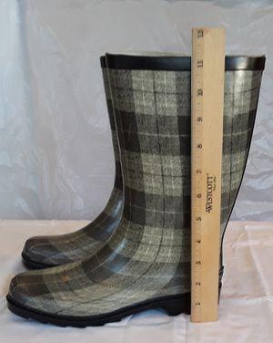 Like new rain boots, flexible and sturdy, plaid design for Sale in Virginia Beach, VA