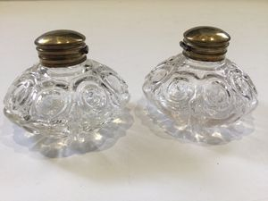 ANTIQUE / VINTAGE PAIR OF GLASS INKWELL JARS for Sale in Ocoee, FL