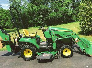 John Deere 1023E .Tractor Loader Backhoe 54D Mid Mower for Sale in Kansas City, MO