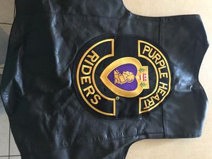 Purple Heart Riders Leather Motorcycle Vest for Sale in Brookfield, IL