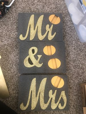 Wedding items - Mr and Mrs gold glittery signs for Sale in Rancho Cucamonga, CA