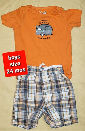 Boys size 24 months Clothes - Daddy's Happy Little Camper Onesie with Plaid Shorts (#233) for Sale in Mesa, AZ