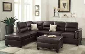New Bonded Leather Sectional & Ottoman New In Box 📦 Local Shipping $49 for Sale in Burbank, CA