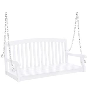 48in Wooden Curved Back Hanging Porch Swing Bench w/Metal Chains for Patio, Deck, Garden - White for Sale in Houston, TX