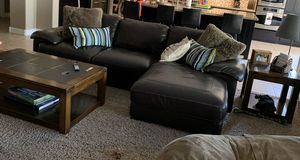 Leather couch and chaise, coffee table and end table for Sale in Goodyear, AZ