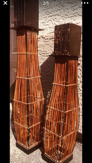 2 Wiker tall candle holders - H24xW6 / H30xW6 inch (candles not included) for Sale in Chandler, AZ