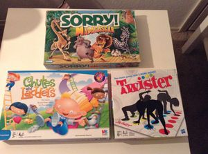 Kids Games- Twister, Chutes & Ladders & Sorry Madagascar for Sale in Kissimmee, FL