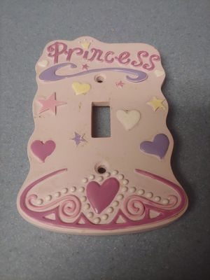 Like new handcrafted ceramic pink with hearts Princess light switch plate for girls bedroom decor for Sale in NW PRT RCHY, FL
