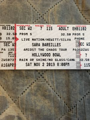 4 tickets to see Sara Bareilles at the Hollywood Bowl on 11/2 for sale! for Sale in San Marino, CA