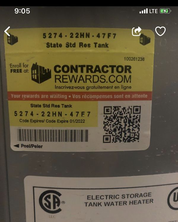 STATE PRO -LINE 50 GALLON WATER HEATER...... MANUFACTURES DATE 2019 .... ELECTRIC ...... AMAZING DEAL !!!!!!!
