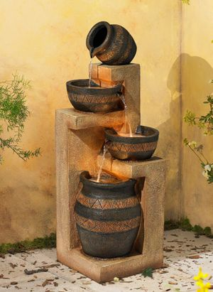 """46"""" High Cascading Bowl and Jar Fountain for Yard, Garden, Patio Deck with LED Light for Sale in Henderson, NV"""