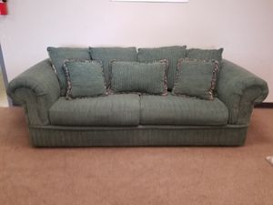 Teal Comfy Couch with Throw Pillows for Sale in Denver, CO