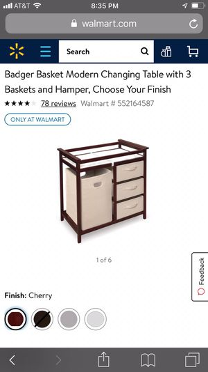 Badger basket changing table with laundry hamper, 3 storage baskets for Sale in Bloomfield, NJ