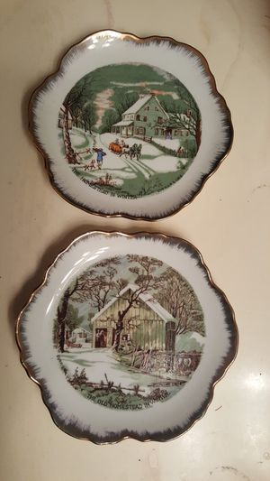 Vintage Collectible Plates Set of 2 - Currier & Ives HOMESTEAD IN WINTER for Sale in Houston, TX