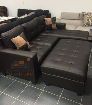 Brand New Espresso Bonded Leather Sectional Sofa Couch +Ottoman for Sale in Silver Spring, MD