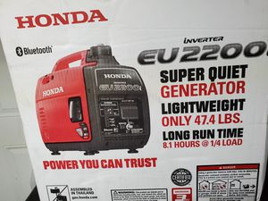 Honda Bluetooth 2,200-Watt Super Quiet Recoil Start Gasoline Powered Portable Companion Inverter Generator with 30 Amp Outlet for Sale in San Diego, CA