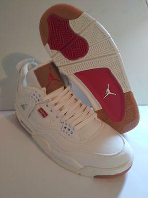 Levi's X Air Jordan 4 Retro Sneakers NRG White Denim Shoes AO2571-100 Size 10 for Sale in West Sacramento, CA