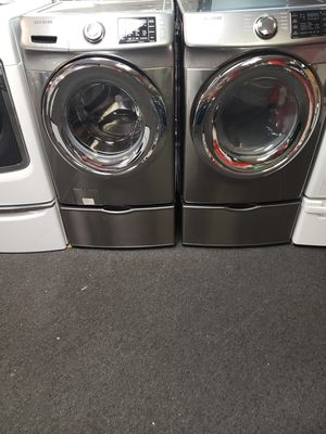 Samsung washer and dryer set stainless steel excellent condition 90 day warranty for Sale in Baltimore, MD
