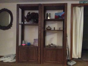 Solid oak wood shelving. This is very sturdy and heavy. Storage is adjustable. for Sale in Lake Stevens, WA