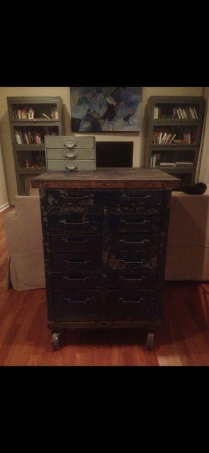Vintage Rolling Industrial Cabinet Parts Cabinet Factory Machine Age Workshop for Sale in Rockville, MD
