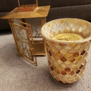 Gold Candle Holder & Gold Lantern & Candle for Sale in Artesia, CA