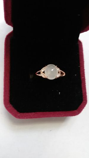 Adjustable size genuine green icy. Jade jadist rose gold overlay ring for Sale in Richmond, CA