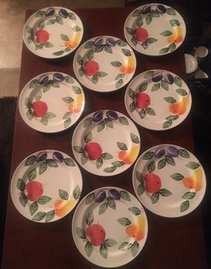 Nine Hand Painted Plates By Ancora for Sale in Aloha, OR