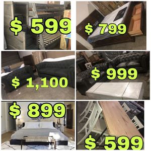 Beautiful new furniture!!! Dining table sets, king bed frames with mattresses, sofa sets, bunk beds + more!!! Only 50$ down for Sale in San Leandro, CA