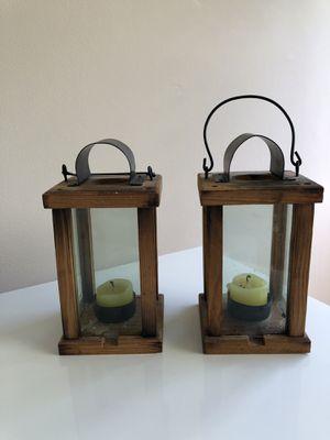 Wood framed lantern candle holder x 2 for Sale in Honolulu, HI