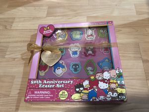 Hello Kitty 50th Anniversary Eraser Set - brand new never opened for Sale in San Jose, CA